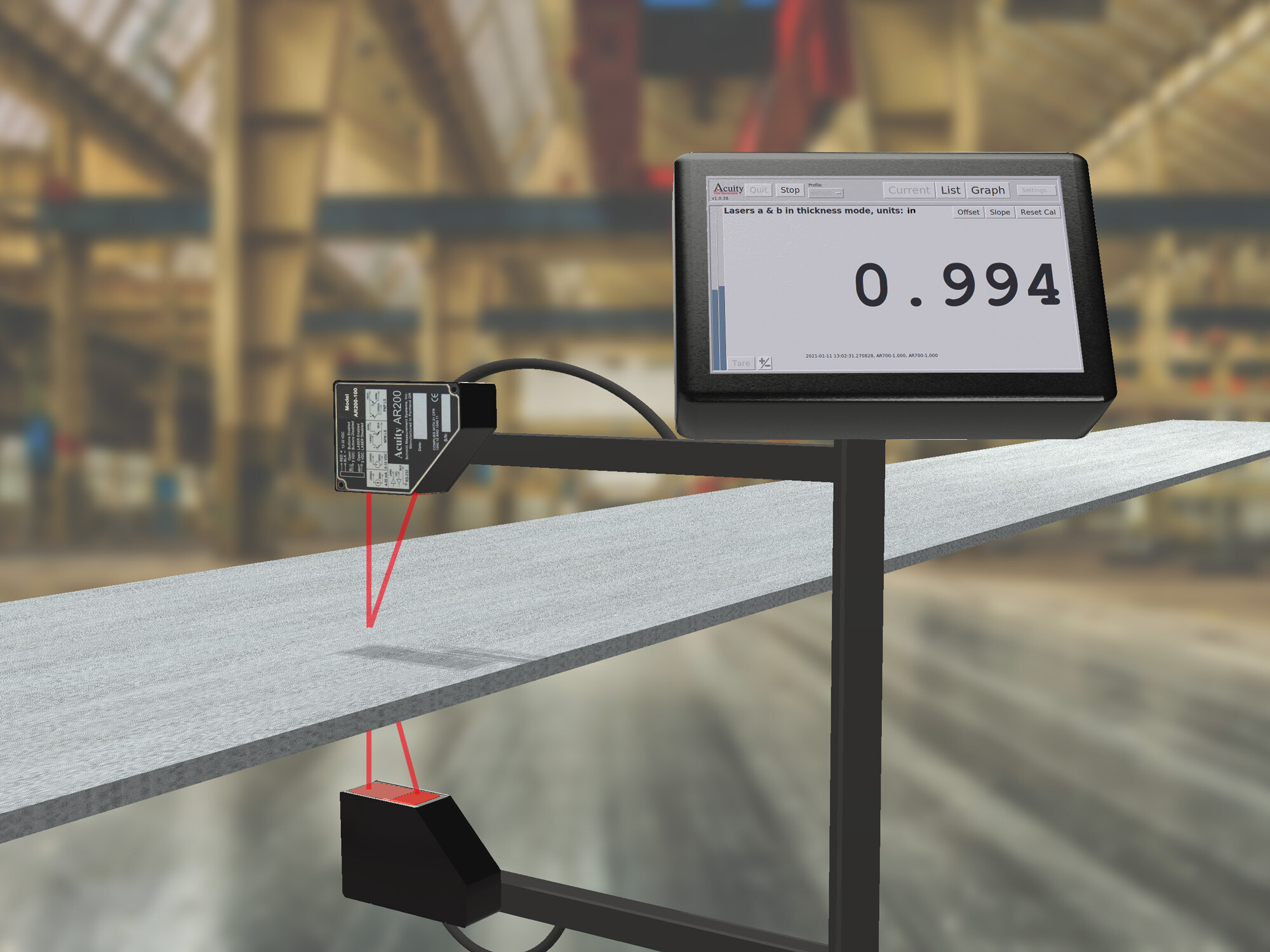 Laser sensor dual thickness measurement