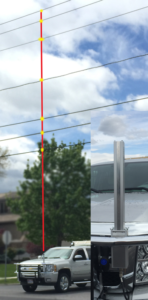 laser height pole for overhead measurement