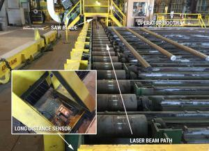 Measuring and cutting steel bars with laser sensors