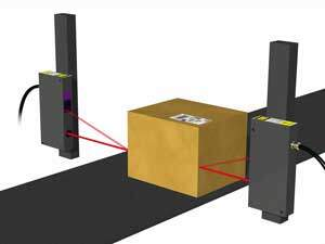 Laser sensors with enough measuring range to span nearly the entire width of the conveyor